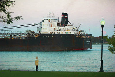 Photograph - Freighter At Dusk Painterly by Mary Bedy