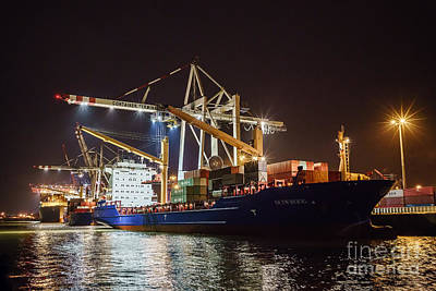 Photograph - Freighter At Night by Daniel Heine