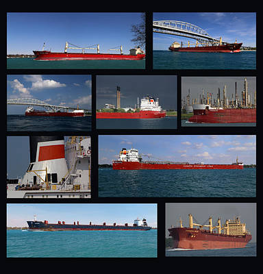 Photograph - Freighter Collage by Mary Bedy