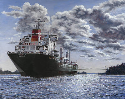 St. Lawrence River Painting - Freighter Inviken by Richard De Wolfe