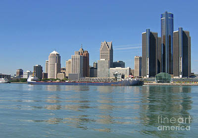 Photograph - Freighter Passes Detroit by Ann Horn