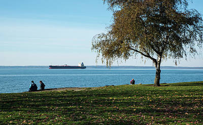 Photograph - Freighter With Audience Of Four by Tom Cochran