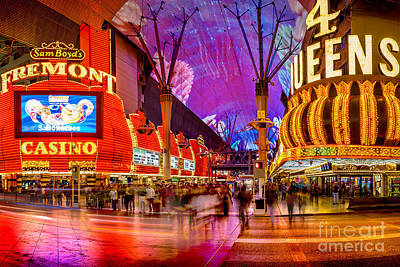 Traffic Sign Photograph - Fremont Street Casinos by Az Jackson