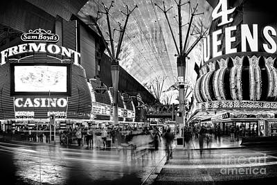 Skyline Photograph - Fremont Street Casinos Bw by Az Jackson