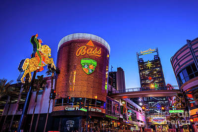 Photograph - Fremont Street Entrance From The East At Dusk by Aloha Art