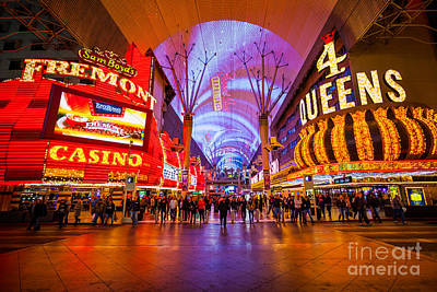 Photograph - Fremont Street Experience At Night In Las Vegas by Bryan Mullennix