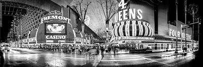 The Strip Photograph - Fremont Street Experience Bw by Az Jackson