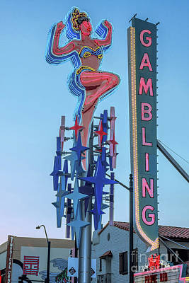 Fremont Street Lucky Lady And Gambling Neon Signs Art Print by Aloha Art