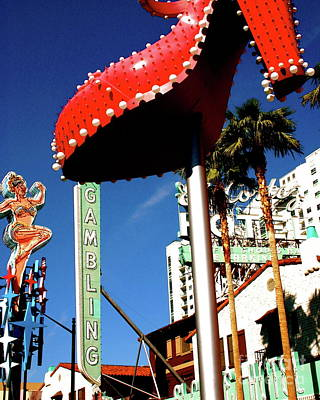 Photograph - Fremont Street Neon Sculpture Shoe El Cortez Casino Las Vegas Fine Art Photograph Color Neon Landsca by Tim Hovde