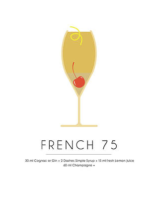 Champagne Mixed Media - French 75 Classic Cocktail - Minimalist Print by Studio Grafiikka