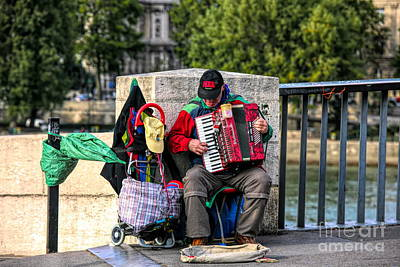 Digital Art - French Accordion Music Streets Of Paris  by Chuck Kuhn