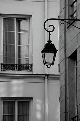 Photograph - French Alley Lantern-black And White by Jani Freimann