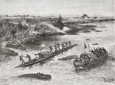 Hippopotamus Drawing - French And British Explorers Hunting by Vintage Design Pics