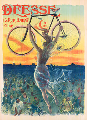 Paris Skyline Wall Art - Painting - French Art Nouveau Poster For Deesse Bicycles, Circa 1898 by Pal