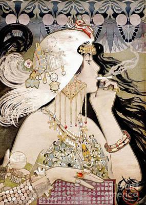 French Art Nouveau Smoking Woman Collage Print by Tina Lavoie