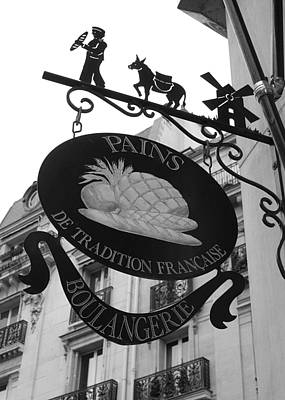 French Signs Photograph - French Bakery Sign - Black And White by Carol Groenen