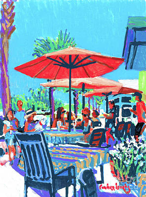 Table Cloth Painting - French Bakery Umbrella Dining by Candace Lovely