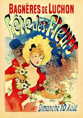 Belle Epoque Digital Art - French Belle Epoque Flowers Festival Bagneres De Luchon Cheret by Heidi De Leeuw