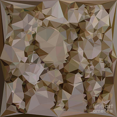 French Bistre Brown Abstract Low Polygon Background Art Print by Aloysius Patrimonio