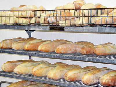 Photograph - French Bread On Shelves In Old Bakery by Jim And Emily Bush