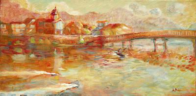 Water Painting - French Broad River Marshall Nc by Lisa Blackshear