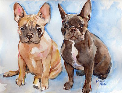 French Bull Dog Painting - French Bull Dog by Maria's Watercolor