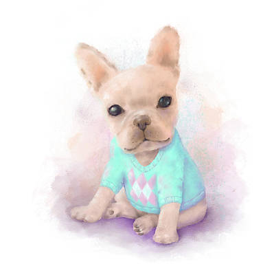 Watercolor Pet Portraits Digital Art - French Bull Dog by Oksana Ariskina