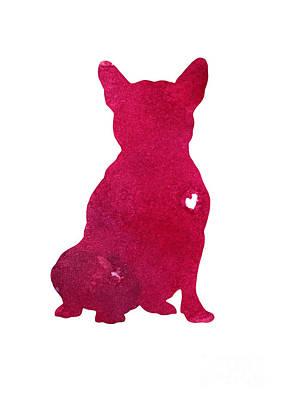 French Bulldog, Abstract Dog Art Print, Kids Wall Decor, Pink Watercolor Painting, Dog Art Print Art Print