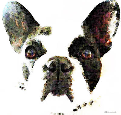 Rescue Pet Painting - French Bulldog Art - High Contrast by Sharon Cummings