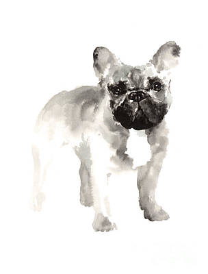 Dog Abstract Art Painting - French Bulldog Drawing For Nursery Room by Joanna Szmerdt