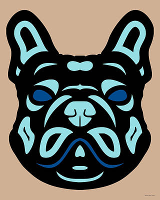Digital Art - French Bulldog Francis - Dog Design - Hazelnut, Island Paradise, Lapis Blue by Manuel Sueess