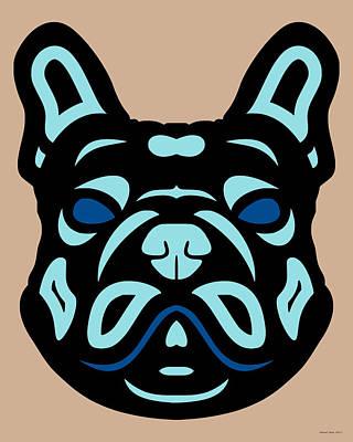 French Bulldog Francis - Dog Design - Hazelnut, Island Paradise, Lapis Blue Art Print by Manuel Sueess