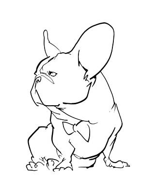 Drawing - French Bulldog Gesture Sketch by John LaFree