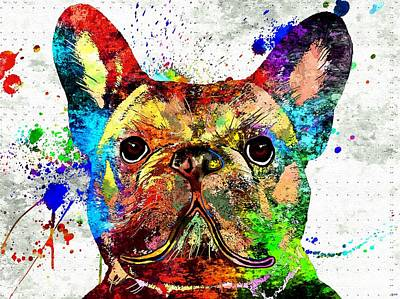Abstract Of Dogs Mixed Media - French Bulldog Grunge 2 by Daniel Janda