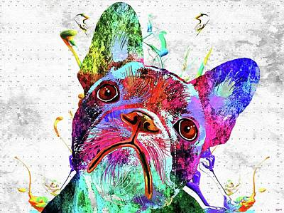 Watercolor Pet Portraits Mixed Media - French Bulldog Grunge Watercolor by Daniel Janda