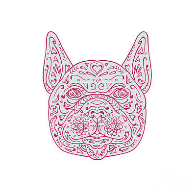 French Bulldog Head Front Mandala Art Print