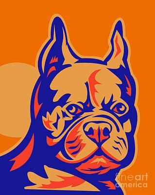 French Bulldog Head Portrait Retro Print by Aloysius Patrimonio