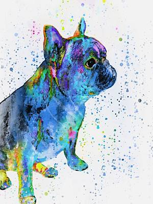 Mixed Media - French Bulldog In Art by Barbara Chichester