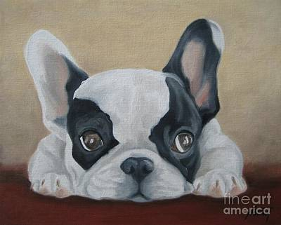 Bulldog Oil Painting - French Bulldog by Jindra Noewi