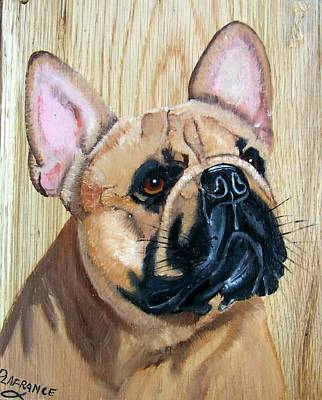 Frenchie Painting - French Bulldog On Wood by Debbie LaFrance