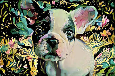 Digital Art - French Bulldog Puppy Abstract Art by Peggy Collins