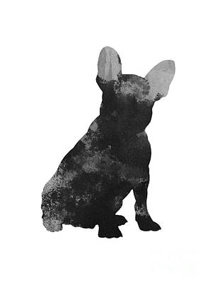 Dog Abstract Art Painting - French Bulldog Silhouette Minimalist Painting by Joanna Szmerdt