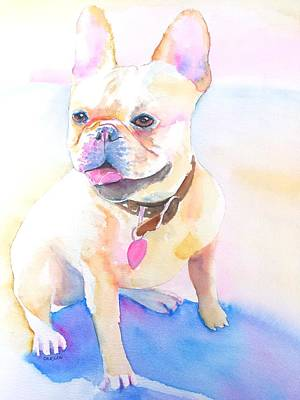 Painting - French Bulldog Watercolor by Carlin Blahnik CarlinArtWatercolor