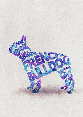 French Bulldog Watercolor Painting / Typographic Art Art Print