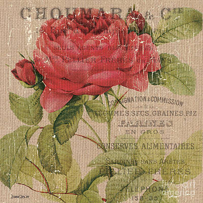 French Burlap Floral 1 Art Print