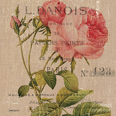 French Burlap Floral 2 Art Print by Debbie DeWitt