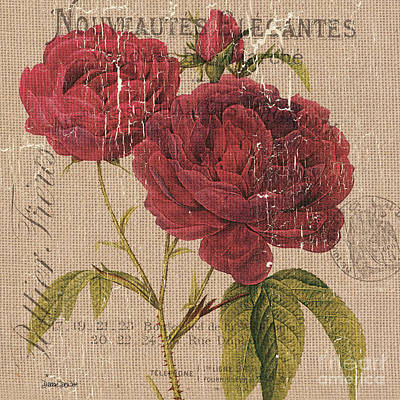 French Burlap Floral 3 Art Print by Debbie DeWitt