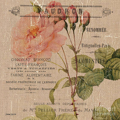 French Burlap Floral 4 Art Print