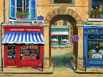 Travel Destinations Painting - French Butcher Shop by Marilyn Dunlap