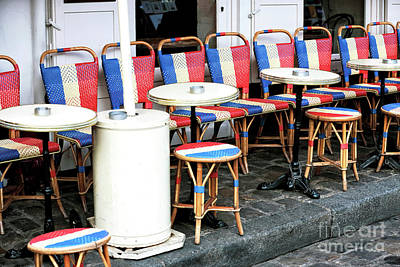 Paris In Blue Fine Art Photograph - French Chairs In Montmartre by John Rizzuto